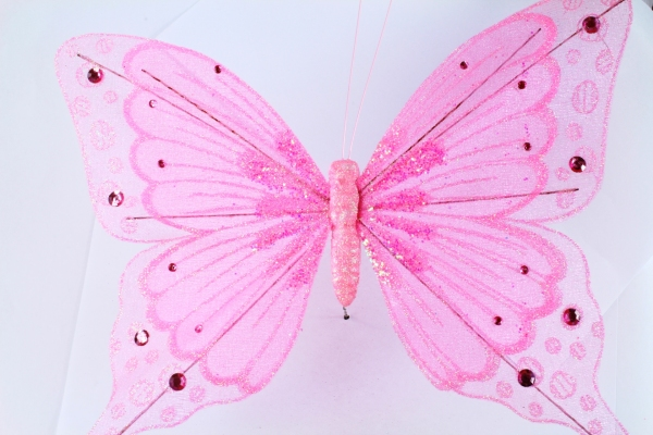 27cm wide Pink artificial Butterfly with Diamonte stones.