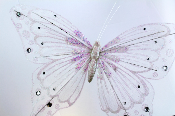 Our largest Butterfly at 27cm wide wings in white with wire wing supports