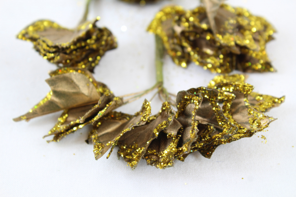 Glittered Ivy Leaves On Stems