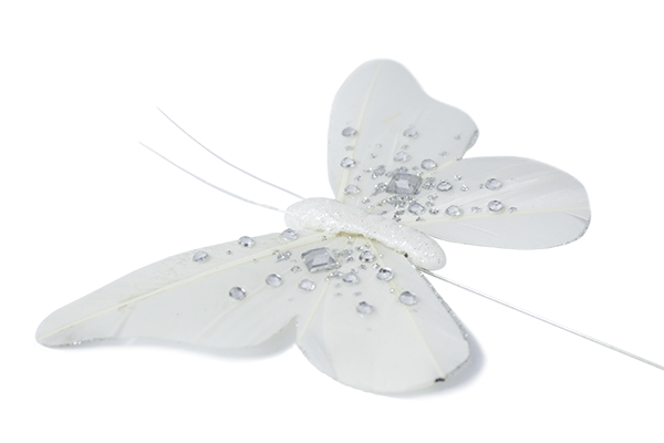 Jewelled Butterfly Mix - White