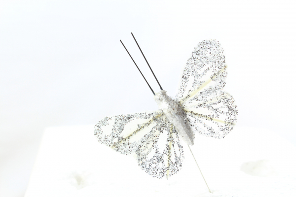 White/Silver Butterfly with glitter wings.