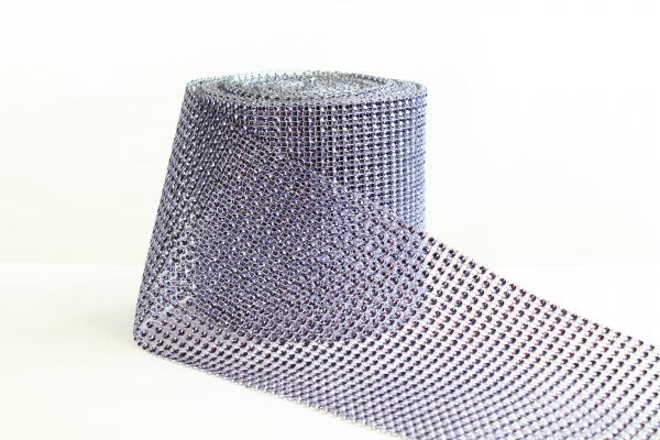 Purple Silver 12cm wide Diamonte stone table runner or craft purposes bling roll.